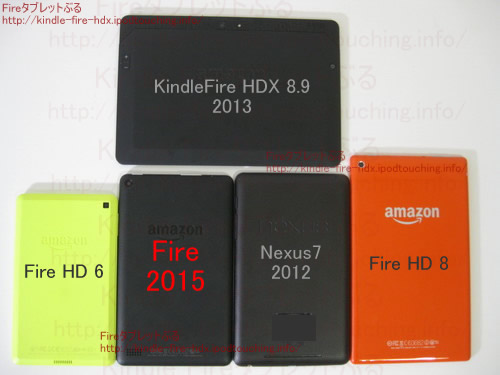 Fireタブレット2015比較、タブレット5機種