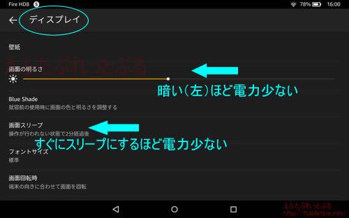 ディスプレイ設定Fire OS5.3.3
