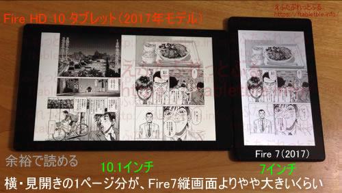 Fire HD 10(2017)横、比較Fire7(2017)縦コミック