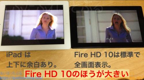 iPad4比較Fire HD 10映像サイズ