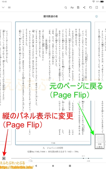 Page Flip(Kindle活字本・読書中のメニュー)