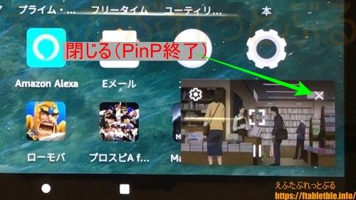 PinPを終了する(Fire HD 8 Plus)